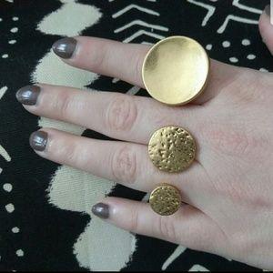 2 pc Gold Hammered Boho Ring Set